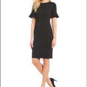 Calvin Klein Black Flutter Bell SleeveSheath Dress